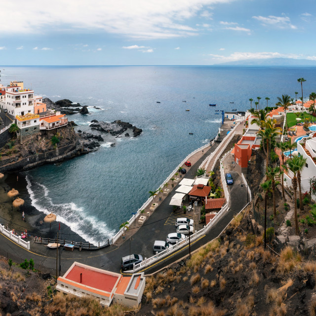 """Panoramic view of Chica beach in Puerto de Santiago in Los Gigantes, Tenerife, Canary Islands, Spain."" stock image"