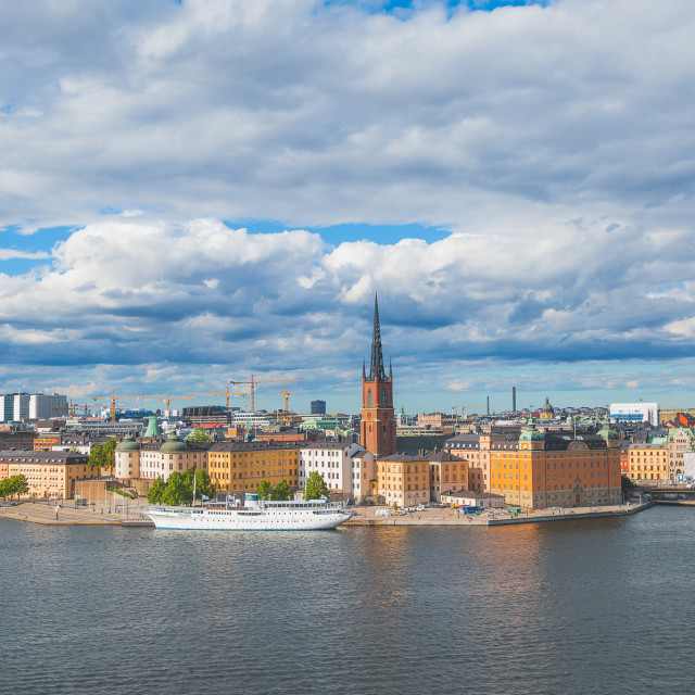 """Stockholm skyline with nice blue sky and gorgeous clouds"" stock image"