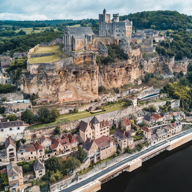 """Château de Beynac in Dordogne, France | Aerial"" stock image"