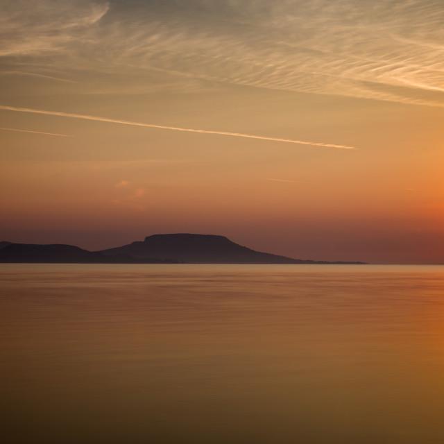 """Sunrise over the lake Balaton of Hungary, long exposure"" stock image"