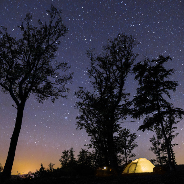 """""""Starry Sky with the Tent on the Mountain"""" stock image"""