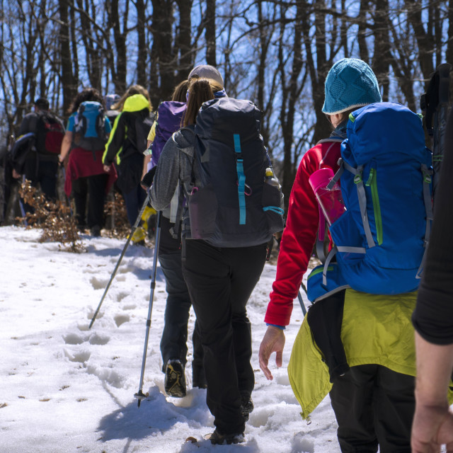 """""""People Hiking on the Mountain"""" stock image"""