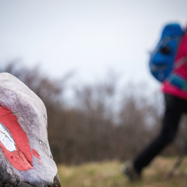 """""""Hiker Hiking in the Mountain"""" stock image"""