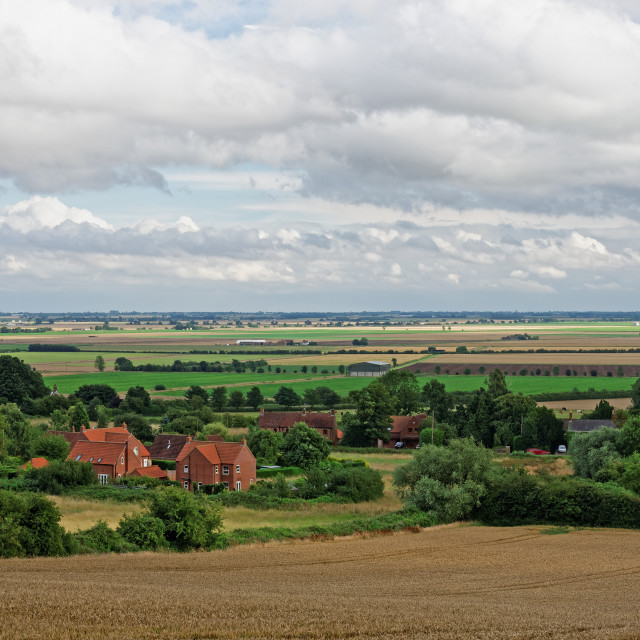 """""""Lincolnshire Fens seen from a hill in the Wolds"""" stock image"""