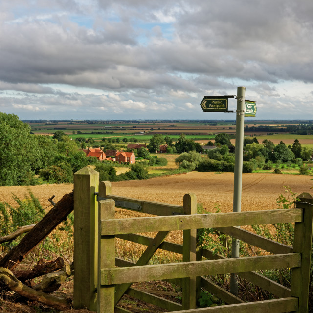 """Lincolnshire Fens seen from a hill in the Wolds"" stock image"