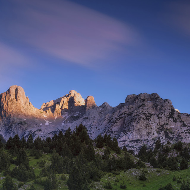 """""""Mountain Peaks lit with last Sun before the Dusk"""" stock image"""
