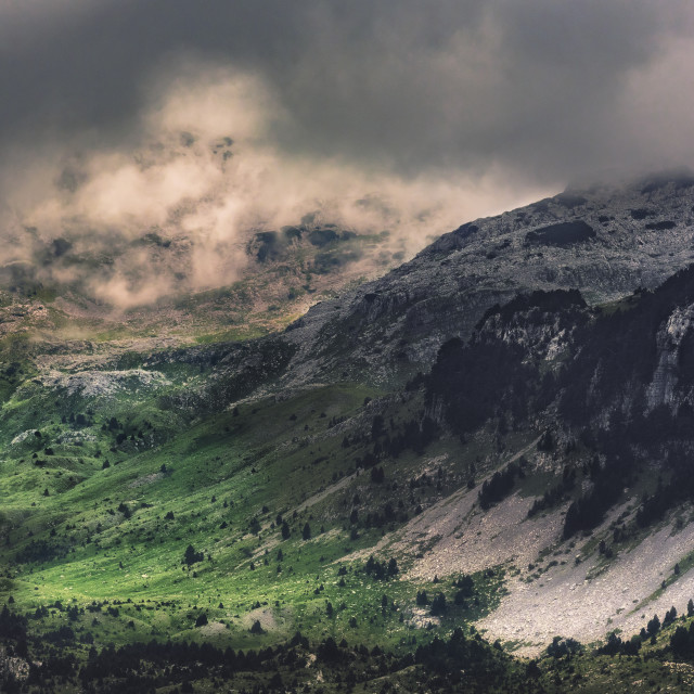 """""""Mountain Valley with rain clouds forming above"""" stock image"""