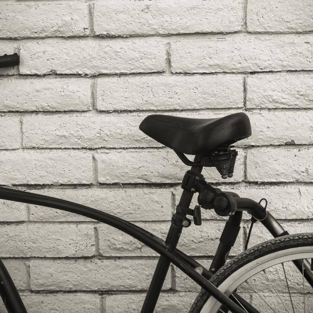 """Bike on a Wall"" stock image"