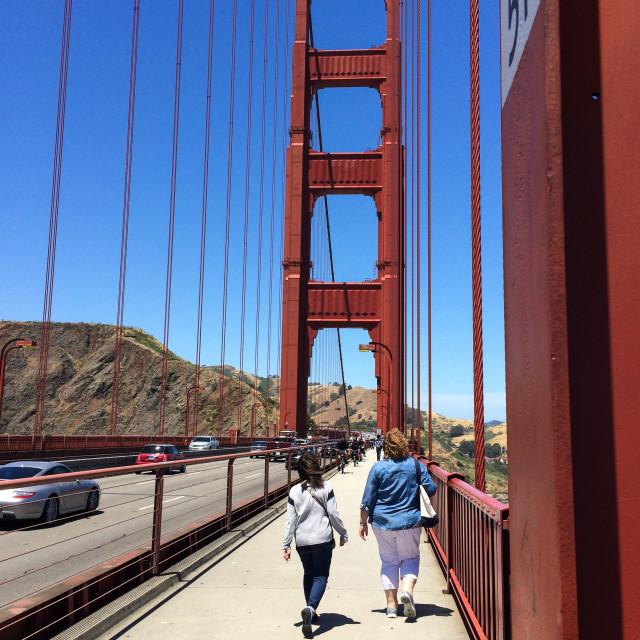 """Walking on the Golden Gate Bridge"" stock image"
