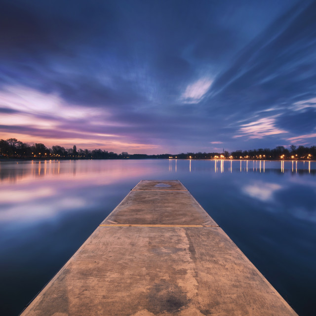 """Bridge leading into the Lake waiting for the Sun to rise"" stock image"