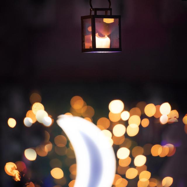 """Lantern at night with moon"" stock image"