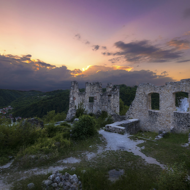 """""""Old Town in Ruins waiting for the Sun to Set"""" stock image"""