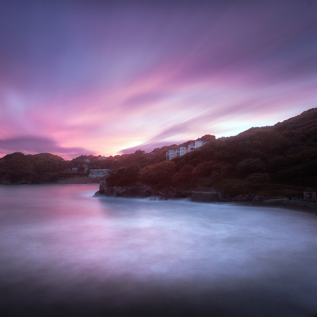 """Caswell Bay at dusk"" stock image"