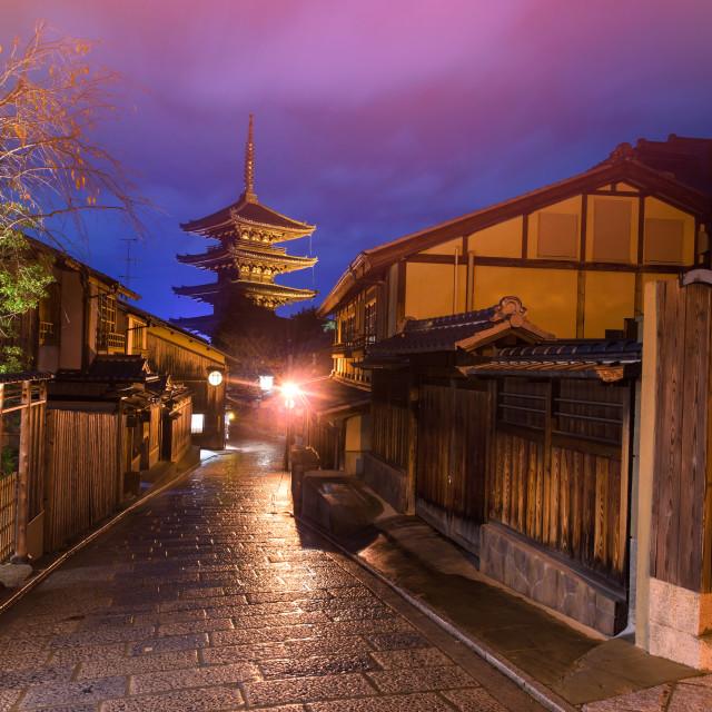 """Yasaka Pagoda at twilight, Kyoto"" stock image"