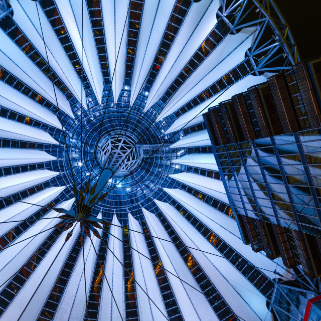 """Potsdamer Platz Center glass cupola in Berlin, Germany"" stock image"