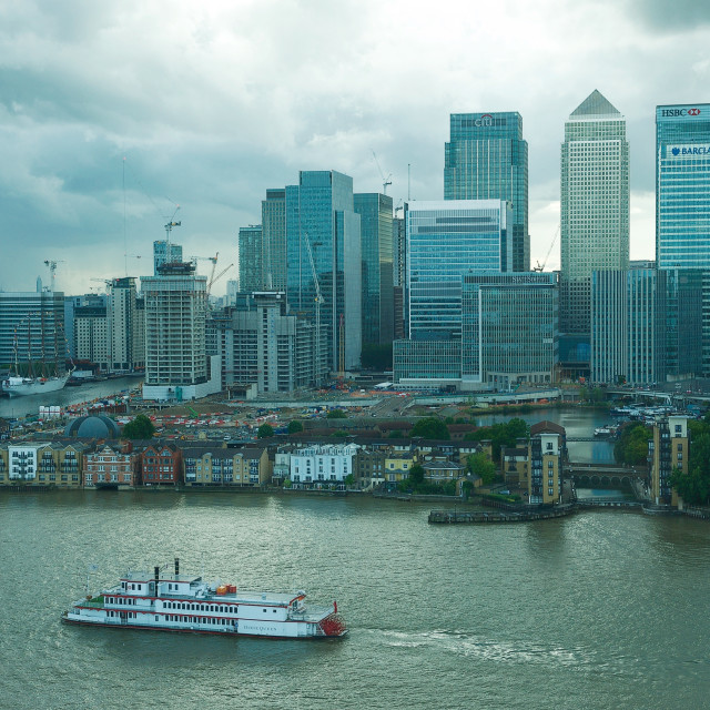 """""""Canary Wharf and Thames #1"""" stock image"""