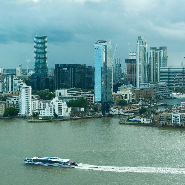 """""""Thames Clipper and Canary Wharf"""" stock image"""