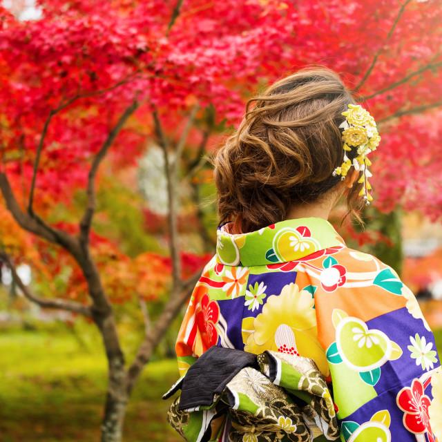 """Japanese girl in kimono at autumn garden"" stock image"