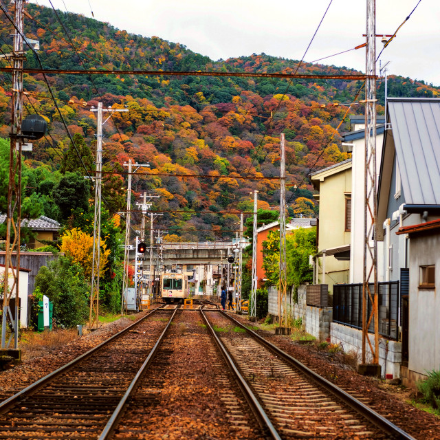 """Railway in Arashiyama urban city at autumn"" stock image"