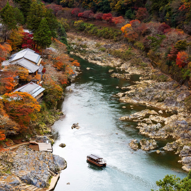 """Arashiyama view pointat autumn"" stock image"