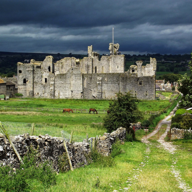 """Storm Over Middleham Castle"" stock image"