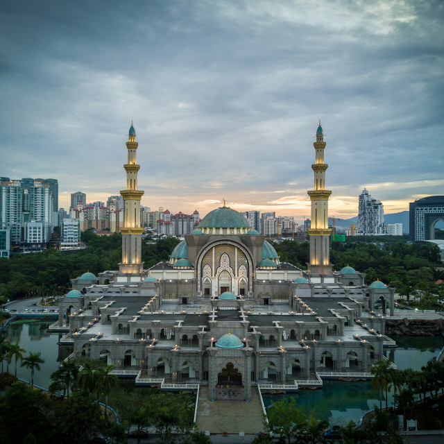 """""""Aerial Photo - The Federal Territory Mosque at Kuala Lumpur, Mal"""" stock image"""