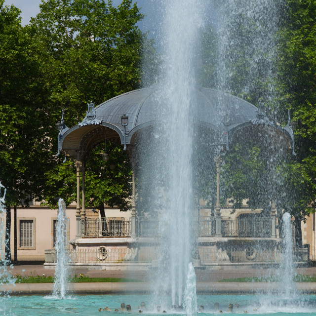 """""""View on pavilion and fountain"""" stock image"""