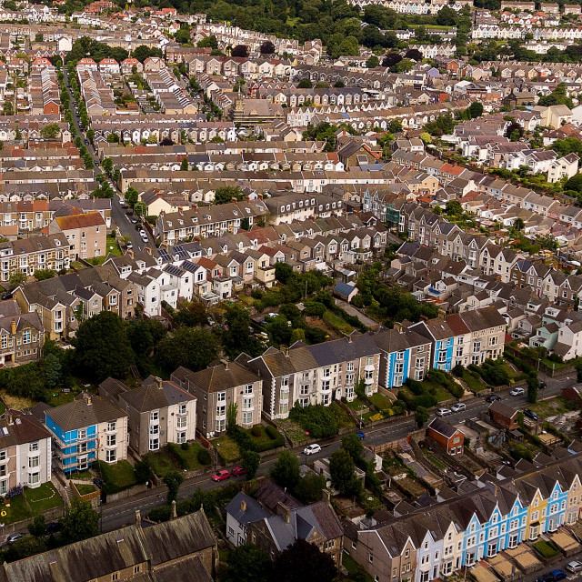 """British terraced houses in the UK"" stock image"