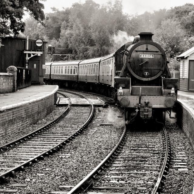 """""""Train in the rain"""" stock image"""