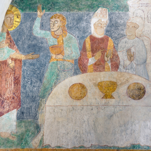 """""""Marriage at Cana, an ancient romanesque fresco in a danish churc"""" stock image"""