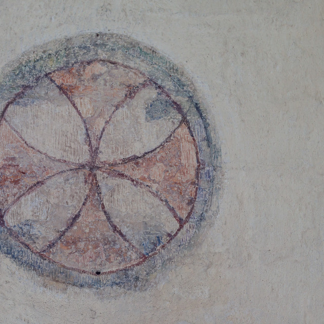 """Consecration cross, a romanesque wall-painting"" stock image"