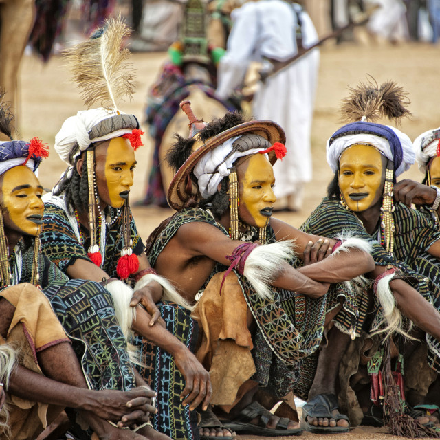 """Wodaabe men in the Sahara Desert; Niger, West Africa"" stock image"