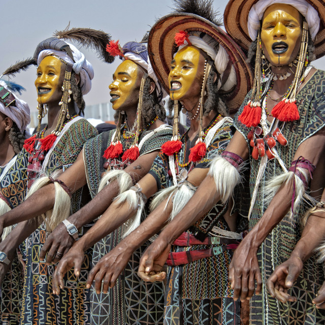 """Wodaabe men singing; Niger, West Africa"" stock image"