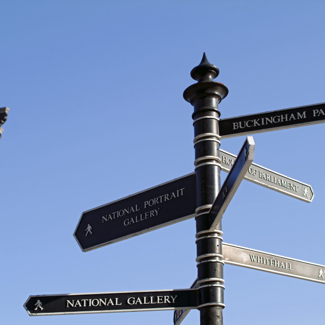 """Nelsons column and sign post"" stock image"