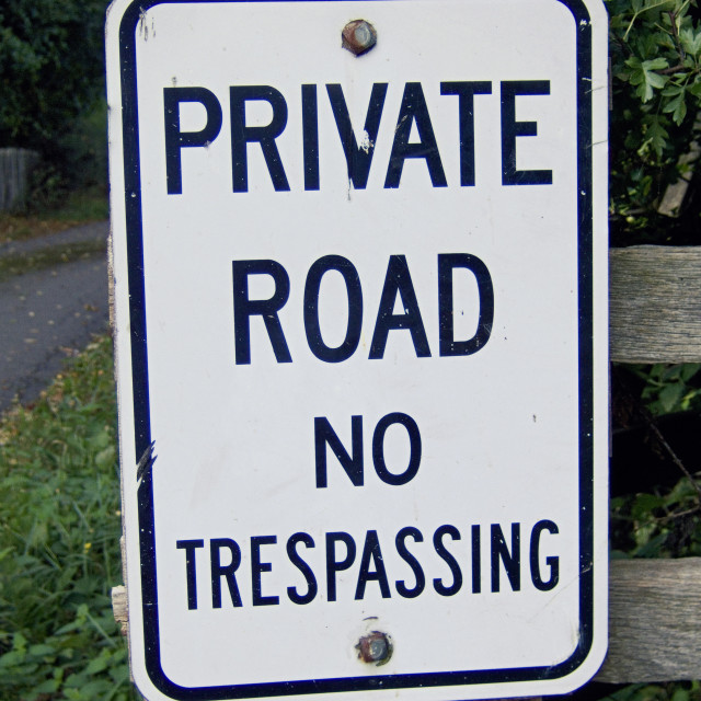 """'Private road' sign on gate post"" stock image"