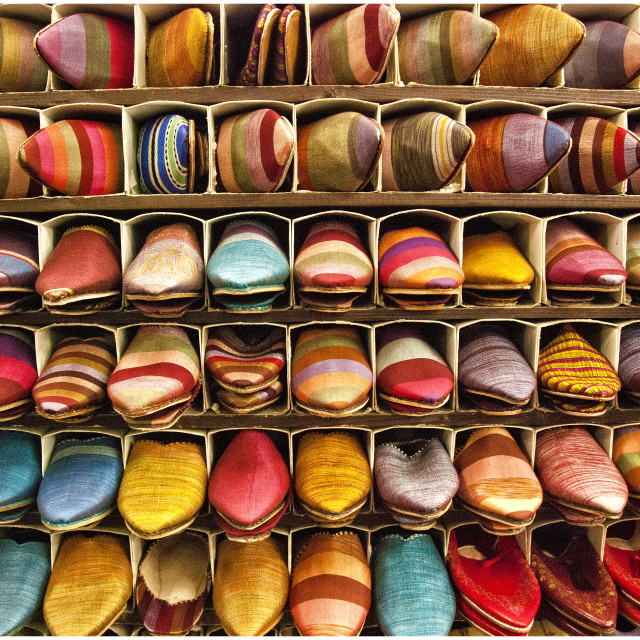 """Slipper souk; Marrakech, Morocco, North Africa"" stock image"