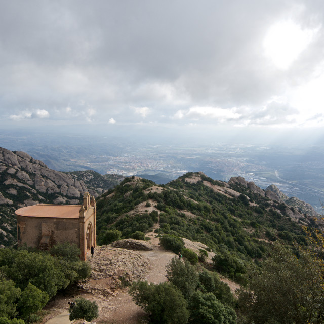 """Scenic view of rocky mountains on a stormy day in Spain"" stock image"