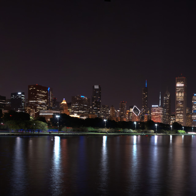 """Chicago night skyline, Usa."" stock image"