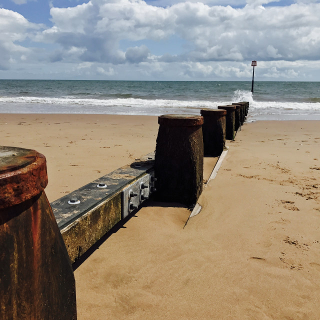 """Dawlish Warren Devon Coast Beach Groyne 9"" stock image"