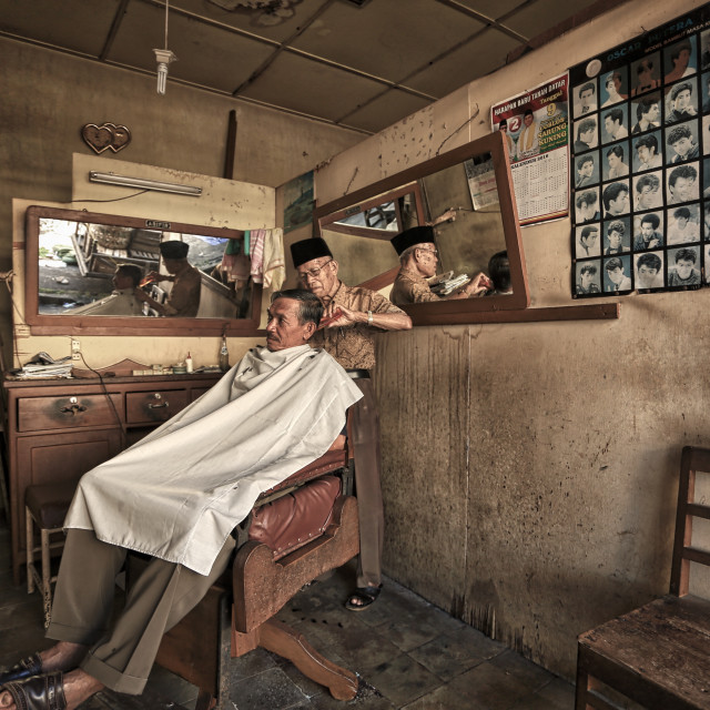 """old school barber shop at Padang Indonesia"" stock image"