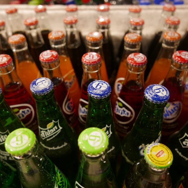 """Bottled carbonated drinks"" stock image"