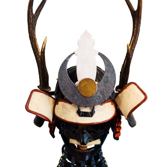 """""""Samurai armor helmet isolated on white"""" stock image"""