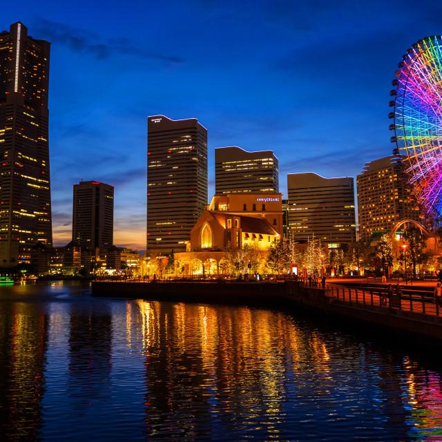 """""""okohama cityscape at night, Minato Mirai"""" stock image"""