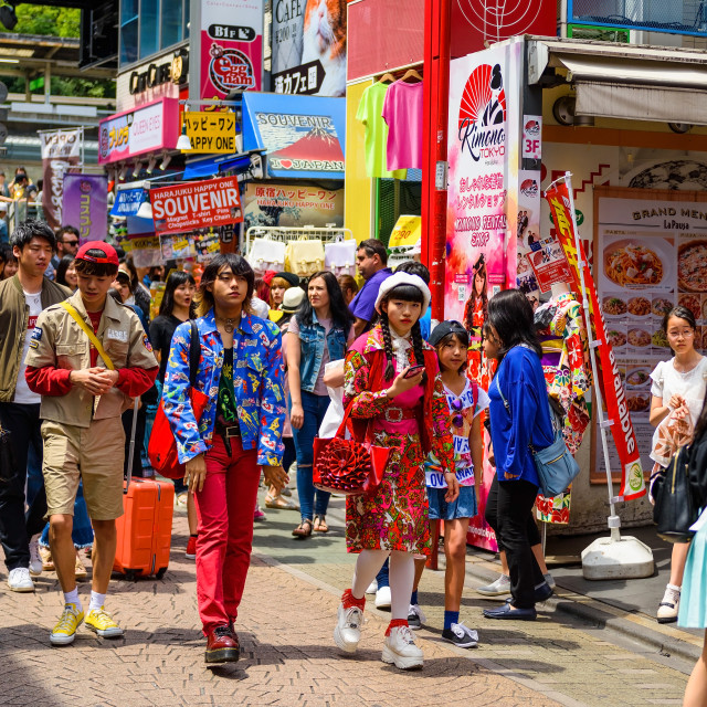 """Japanese teenagers at Harajuku"" stock image"