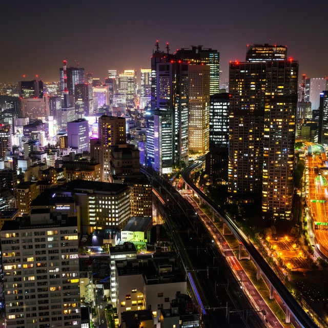 """Tokyo skyline cityscape at night"" stock image"