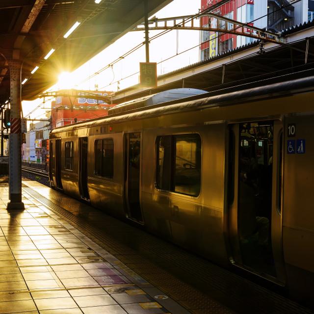 """Yellow line JR train, Tokyo"" stock image"