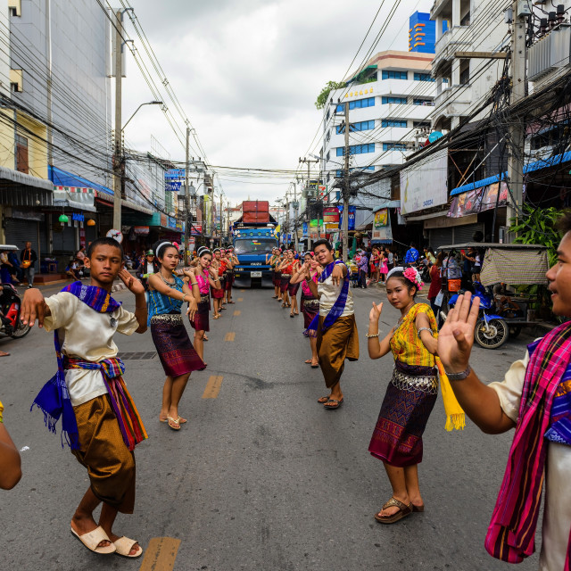 """traditional dance at Candle festival, Korat"" stock image"