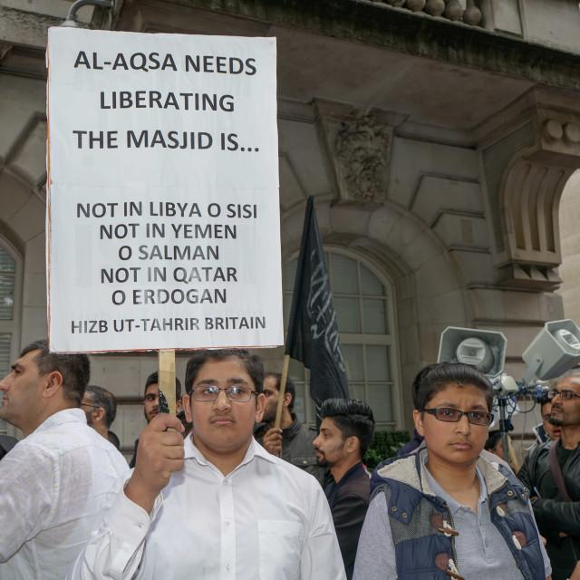 """Stand, Struggle & Sacrifice for Al-Aqsa protest at Saudi Embassy, London, UK"" stock image"