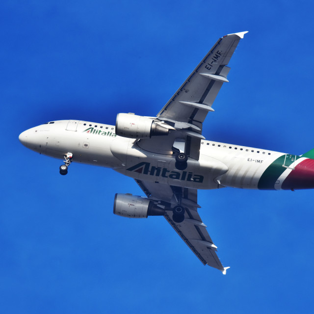 """""""Airplane of Alitalia approaching the airport"""" stock image"""