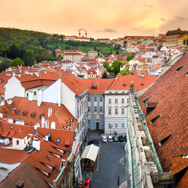 """Lesser Town Square rooftops with Prague cityscape"" stock image"